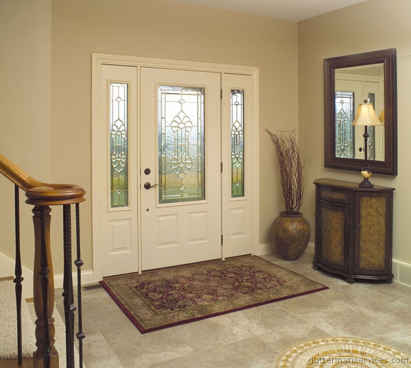 pro via entry door model 430 with sidelights aged bronze louvred